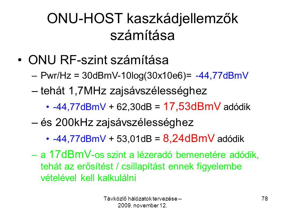 Távközlő hálózatok tervezése -- 2009. november 12. 77 ONU-HOST kaszkádjellemzők számítása •Kiindulási adatok –Az ONU-körzet zajszintje-20 dBmV –16 db