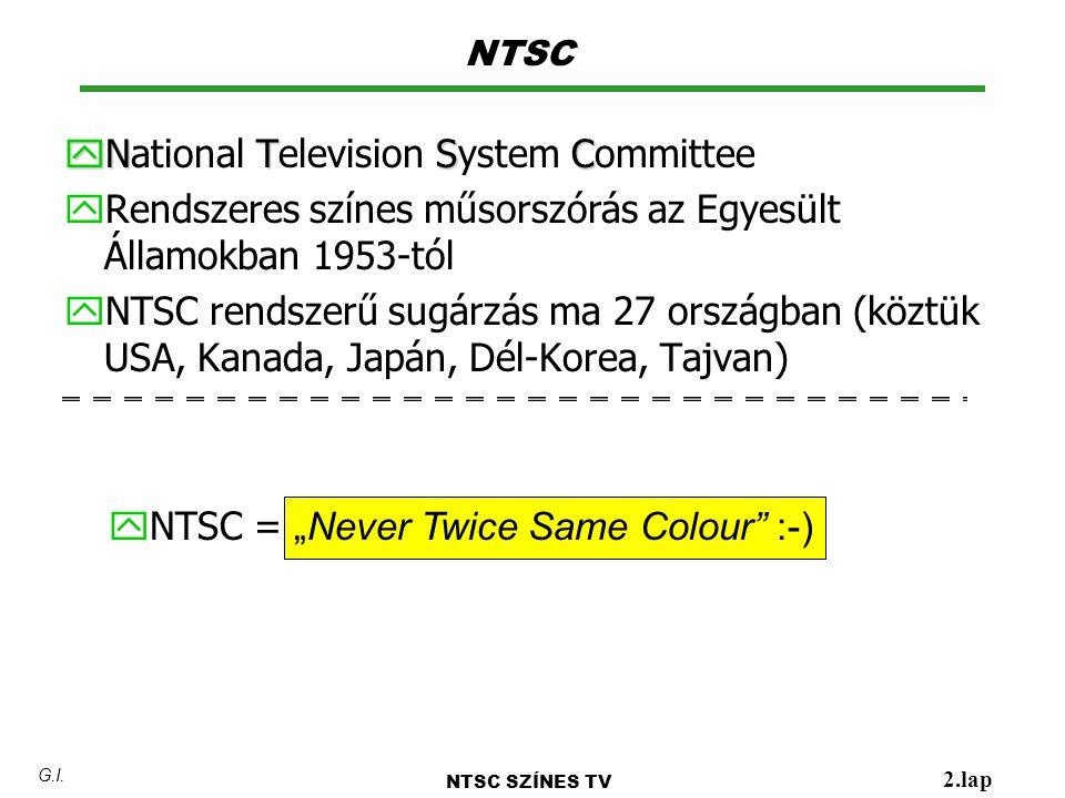 y N TSC y National Television System Committee y Rendszeres színes műsorszórás az Egyesült Államokban 1953-tól y NTSC rendszerű sugárzás ma 27 országb