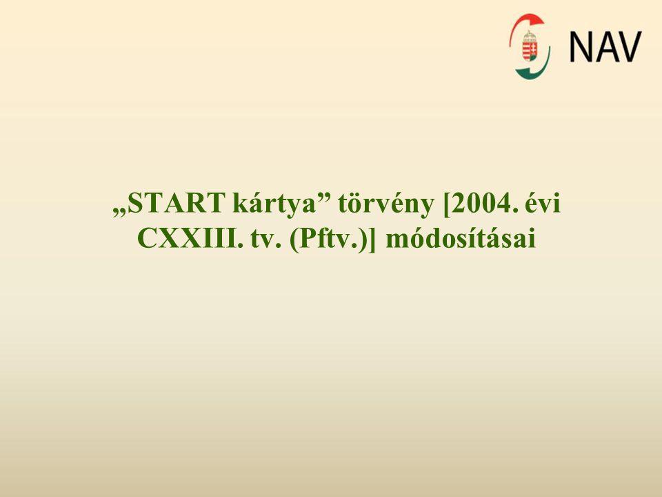 """""""START kártya"""" törvény [2004. évi CXXIII. tv. (Pftv.)] módosításai"""