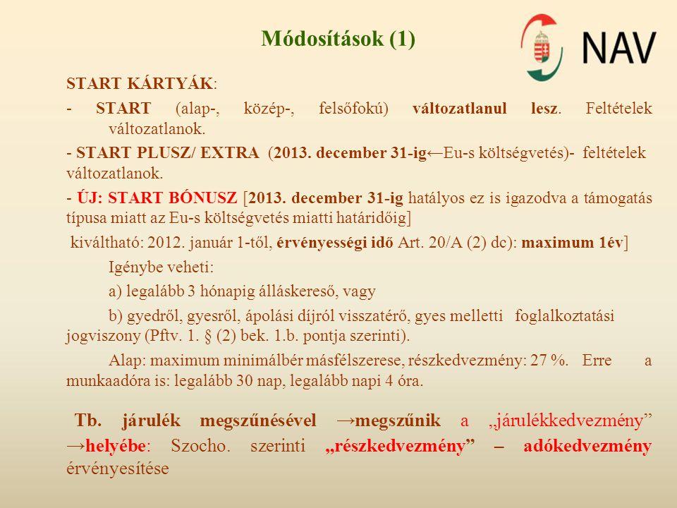 START KÁRTYÁK: - START (alap-, közép-, felsőfokú) változatlanul lesz. Feltételek változatlanok. - START PLUSZ/ EXTRA (2013. december 31-ig←Eu-s költsé