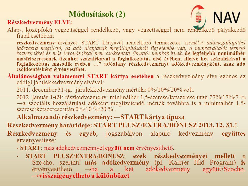 Módosítások (2) Részkedvezmény ELVE: Alap-, középfokú végzettséggel rendelkező, vagy végzettséggel nem rendelkező pályakezdő fiatal esetében: részkedv