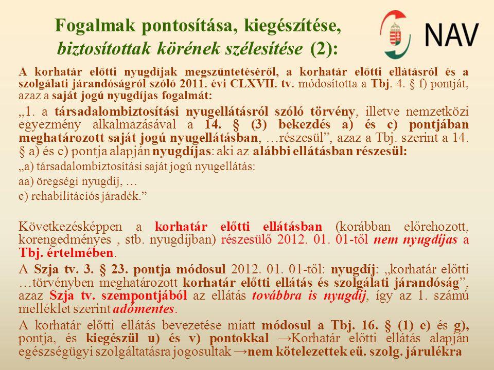 Fogalmak pontosítása, kiegészítése biztosítottak körének szélesítése (3): 2012.