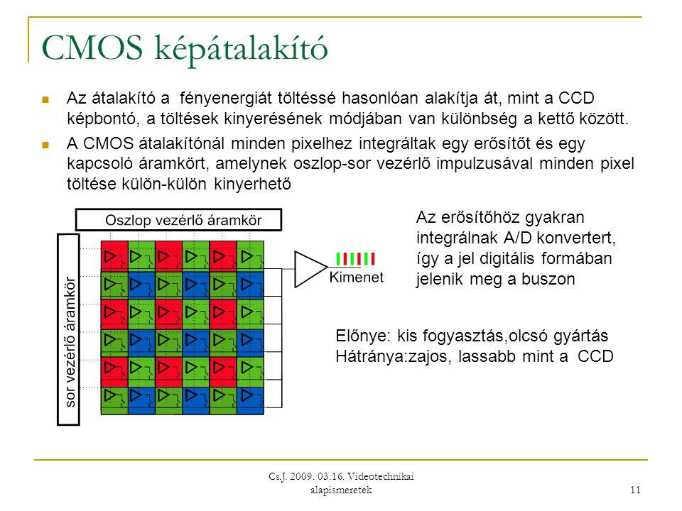 Cs.J. 2009. 03.16. Videotechnikai alapismeretek 11 CMOS képátalakító  Az átalakító a fényenergiát töltéssé hasonlóan alakítja át, mint a CCD képbontó