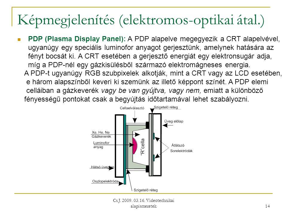 Cs.J. 2009. 03.16. Videotechnikai alapismeretek 14 Képmegjelenítés (elektromos-optikai átal.)  PDP (Plasma Display Panel): A PDP alapelve megegyezik