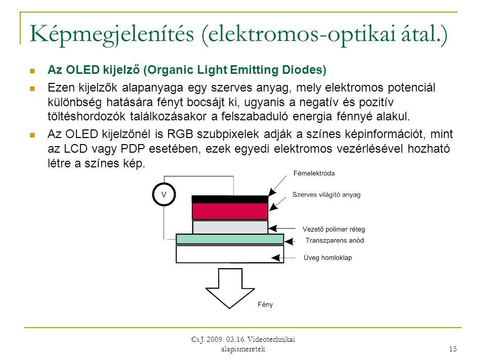 Cs.J. 2009. 03.16. Videotechnikai alapismeretek 15 Képmegjelenítés (elektromos-optikai átal.)  Az OLED kijelző (Organic Light Emitting Diodes)  Ezen