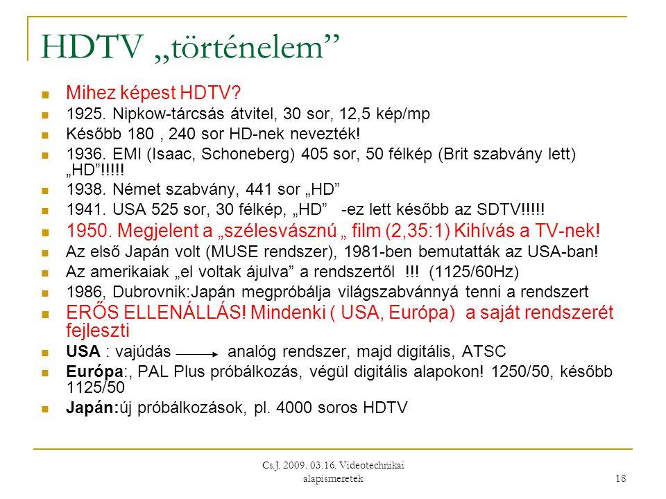 """Cs.J. 2009. 03.16. Videotechnikai alapismeretek 18 HDTV """"történelem""""  Mihez képest HDTV?  1925. Nipkow-tárcsás átvitel, 30 sor, 12,5 kép/mp  Később"""