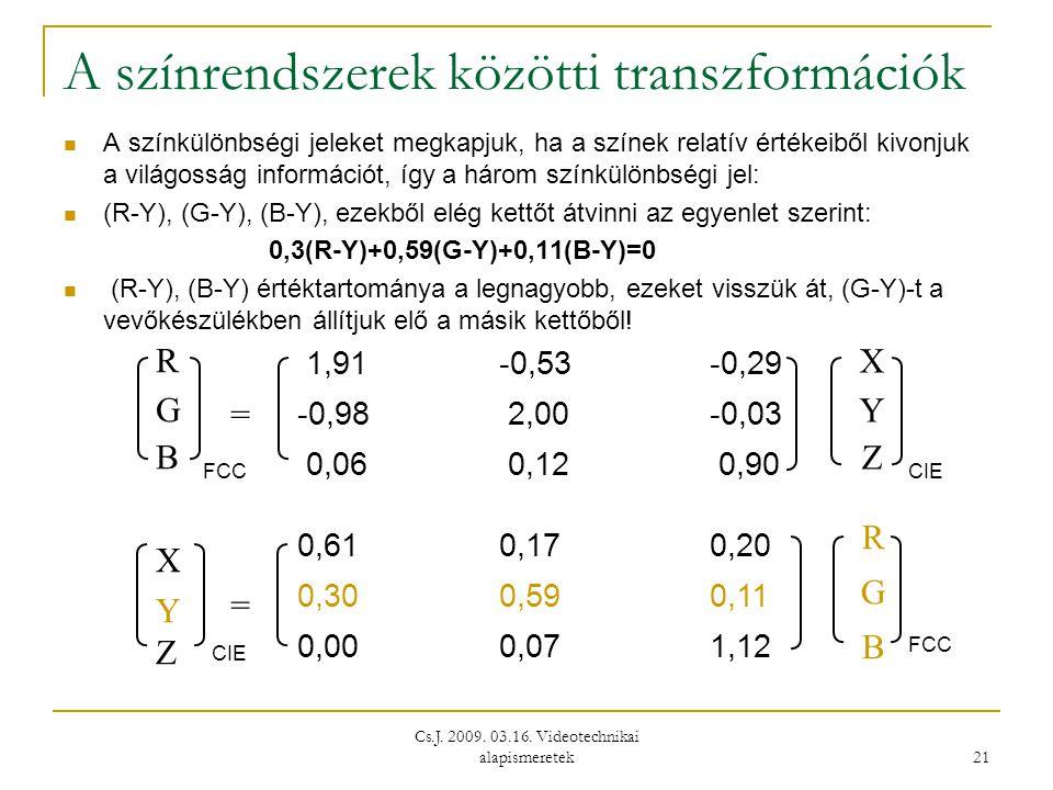 Cs.J. 2009. 03.16. Videotechnikai alapismeretek 21 A színrendszerek közötti transzformációk  A színkülönbségi jeleket megkapjuk, ha a színek relatív
