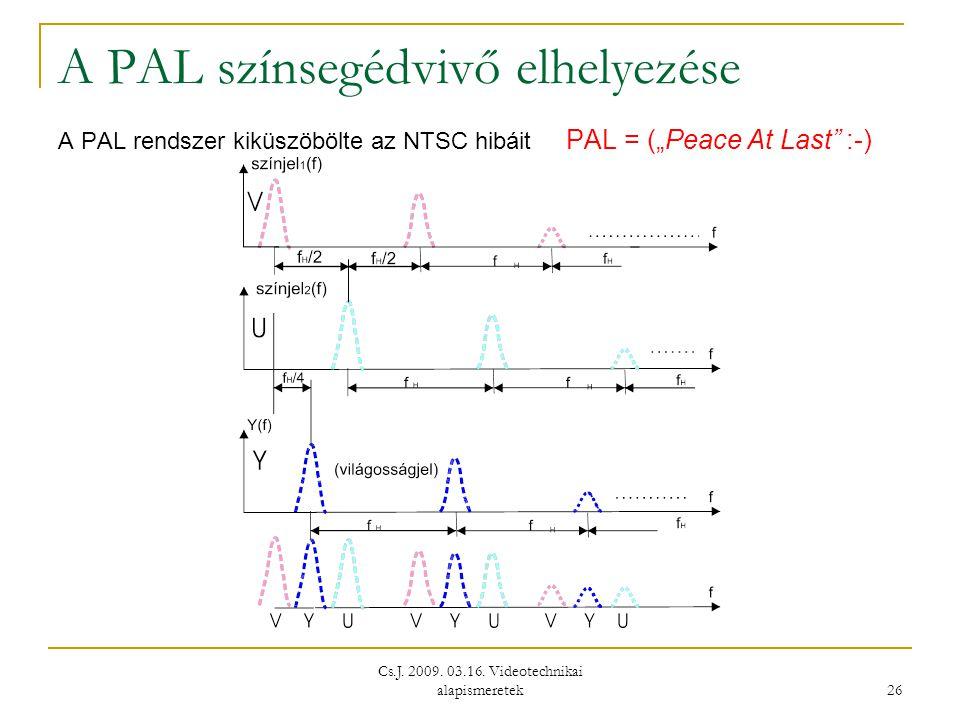 """Cs.J. 2009. 03.16. Videotechnikai alapismeretek 26 A PAL színsegédvivő elhelyezése A PAL rendszer kiküszöbölte az NTSC hibáit PAL = (""""Peace At Last"""" :"""