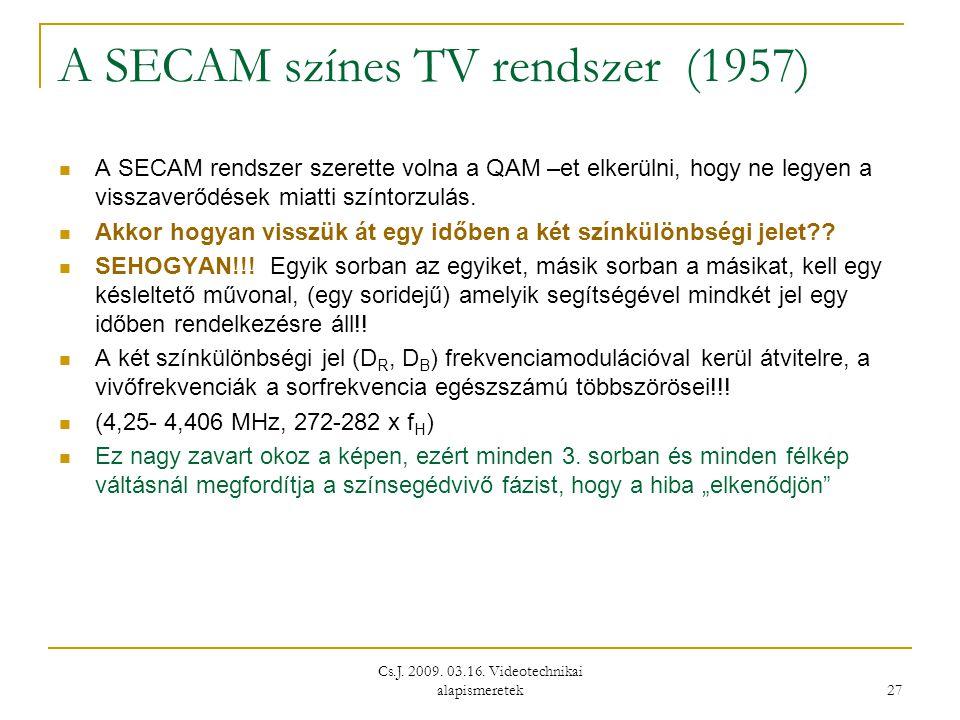 Cs.J. 2009. 03.16. Videotechnikai alapismeretek 27 A SECAM színes TV rendszer (1957)  A SECAM rendszer szerette volna a QAM –et elkerülni, hogy ne le