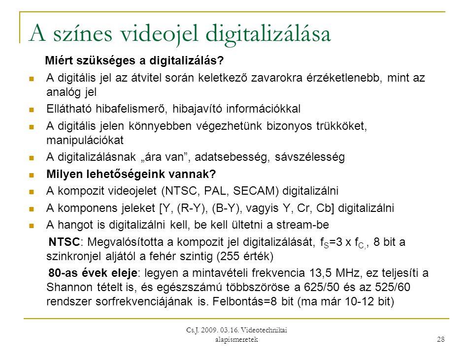 Cs.J. 2009. 03.16. Videotechnikai alapismeretek 28 A színes videojel digitalizálása Miért szükséges a digitalizálás?  A digitális jel az átvitel sorá
