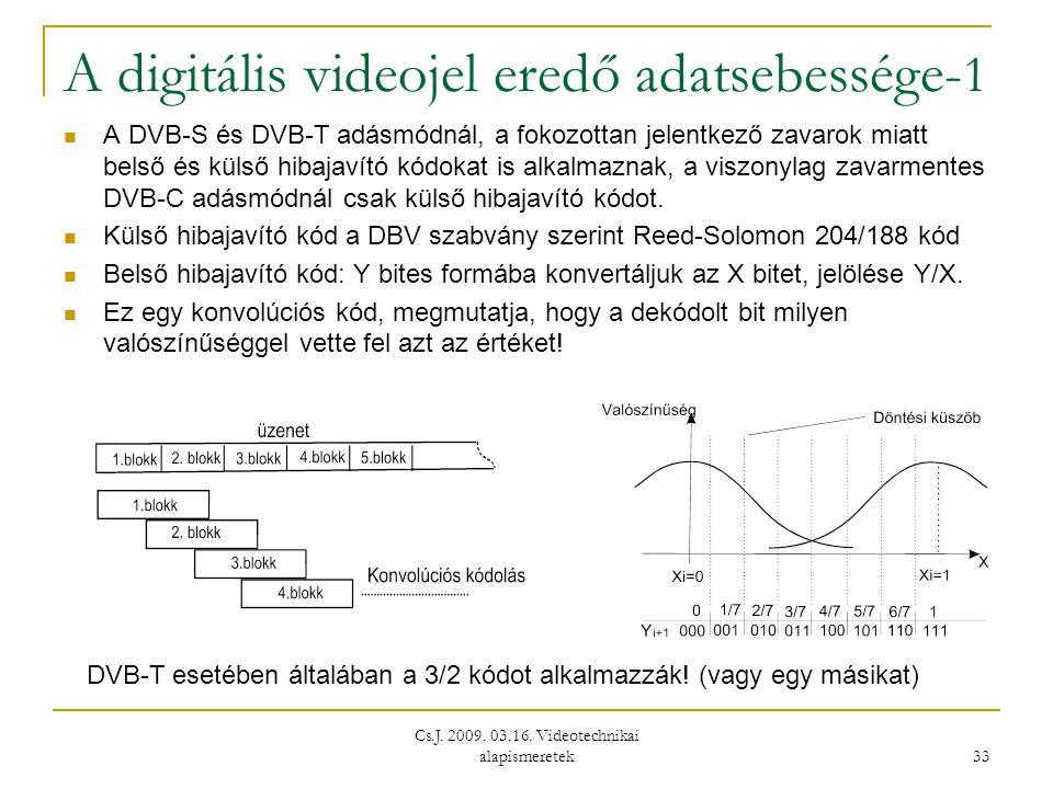 Cs.J. 2009. 03.16. Videotechnikai alapismeretek 33 A digitális videojel eredő adatsebessége- 1  A DVB-S és DVB-T adásmódnál, a fokozottan jelentkező