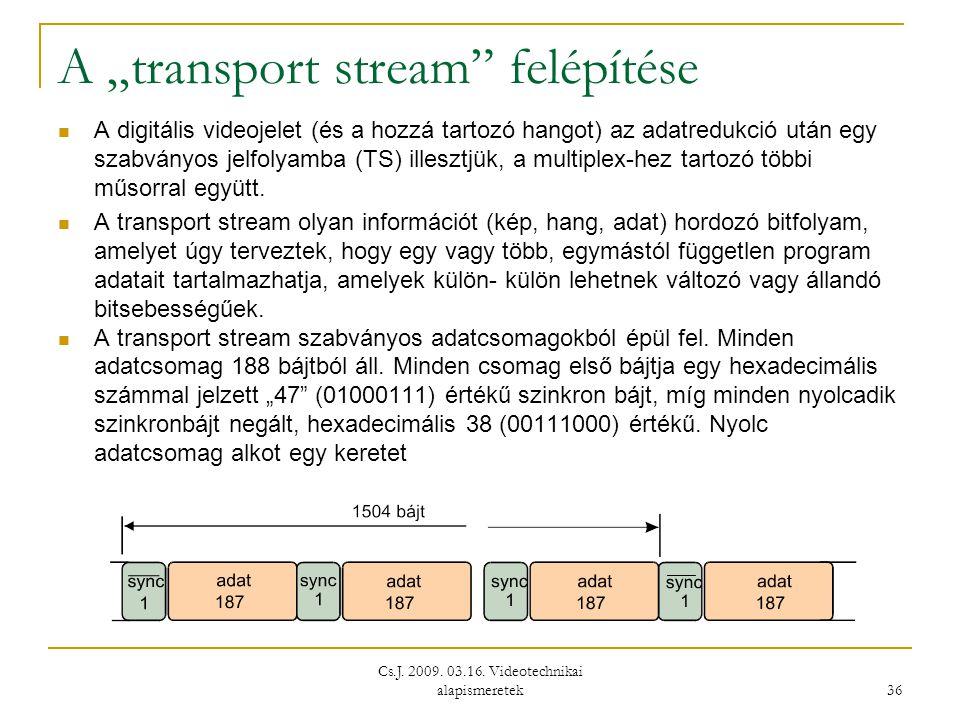 """Cs.J. 2009. 03.16. Videotechnikai alapismeretek 36 A """"transport stream"""" felépítése  A digitális videojelet (és a hozzá tartozó hangot) az adatredukci"""