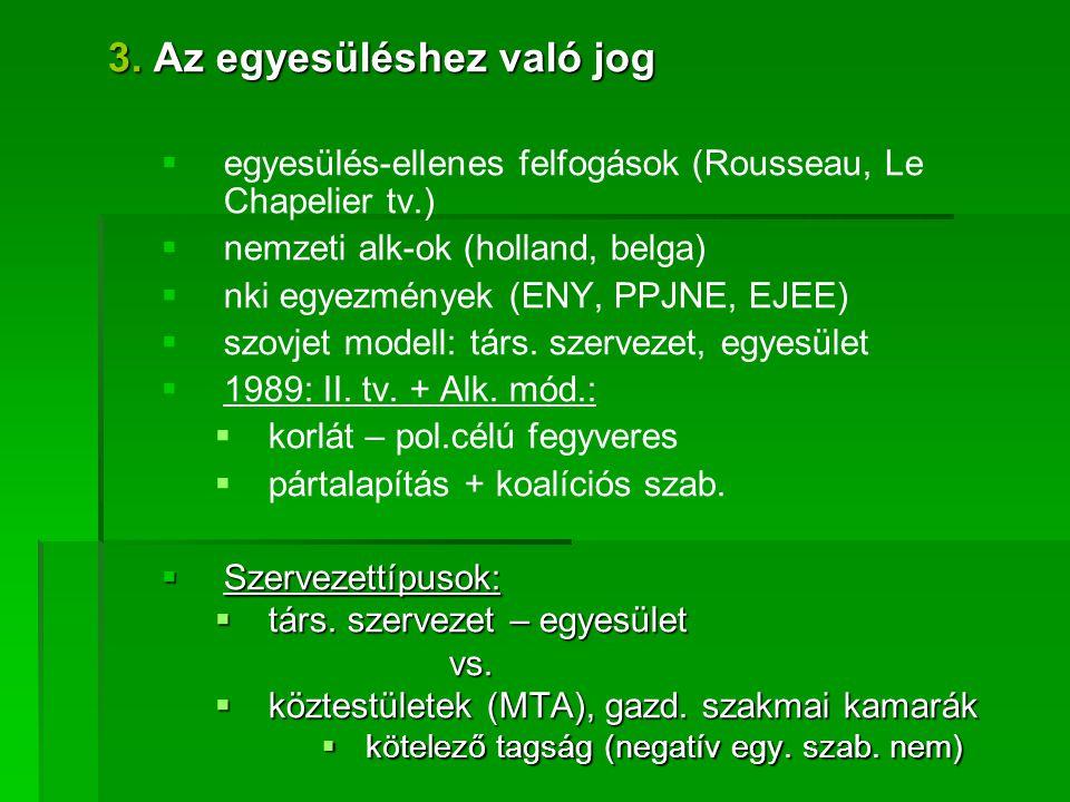 3. Az egyesüléshez való jog   egyesülés-ellenes felfogások (Rousseau, Le Chapelier tv.)   nemzeti alk-ok (holland, belga)   nki egyezmények (ENY