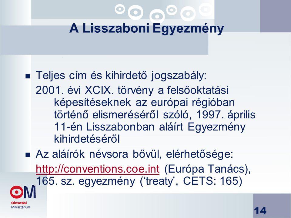 14 A Lisszaboni Egyezmény n Teljes cím és kihirdető jogszabály: 2001. évi XCIX. törvény a felsőoktatási képesítéseknek az európai régióban történő eli