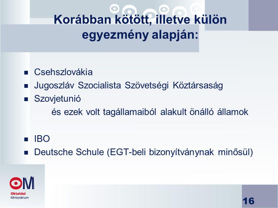 16 Korábban kötött, illetve külön egyezmény alapján: n Csehszlovákia n Jugoszláv Szocialista Szövetségi Köztársaság n Szovjetunió és ezek volt tagálla