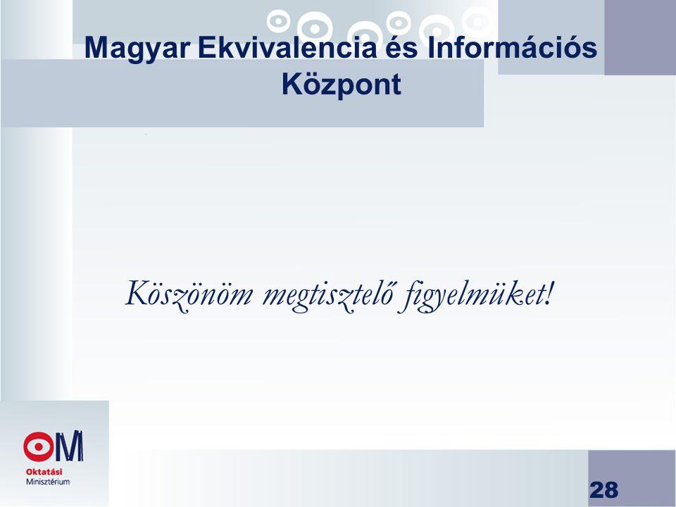 28 Magyar Ekvivalencia és Információs Központ Köszönöm megtisztelő figyelmüket!