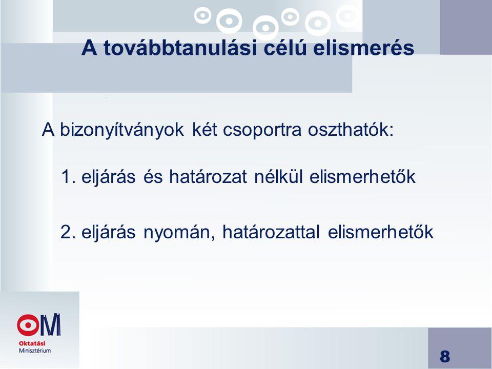 8 A továbbtanulási célú elismerés A bizonyítványok két csoportra oszthatók: 1. eljárás és határozat nélkül elismerhetők 2. eljárás nyomán, határozatta