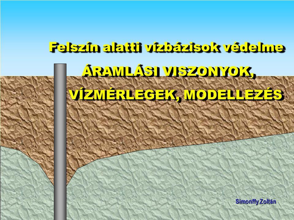 Koncepcionális modell A modell geometriai felépítése (határai, 1, 2 vagy 3 dimenzió, horizontális felosztás, rétegfelosztás) horizontális felosztás, rétegfelosztás) Peremfeltételek (választás a három típusból: adott nyomású, adott hozamú/vízzáró, nyomástól függő hozam) adott nyomású, adott hozamú/vízzáró, nyomástól függő hozam) Az idő (permanens vagy nem permanens modell, az utóbbi esetében kezdeti feltétel és időlépcsők) az utóbbi esetében kezdeti feltétel és időlépcsők) Források és nyelők (beszivárgás, párolgás, vízfolyások, tavak, vízkivételek) Transzportfolyamatok (csak advekció, advekció + diszperzió, a szennyezőanyagtól és a közegtől függő egyéb folyamatok: adszorbció, lebomlás, és a közegtől függő egyéb folyamatok: adszorbció, lebomlás, kémiai átalakulások  több komponens?) kémiai átalakulások  több komponens?)