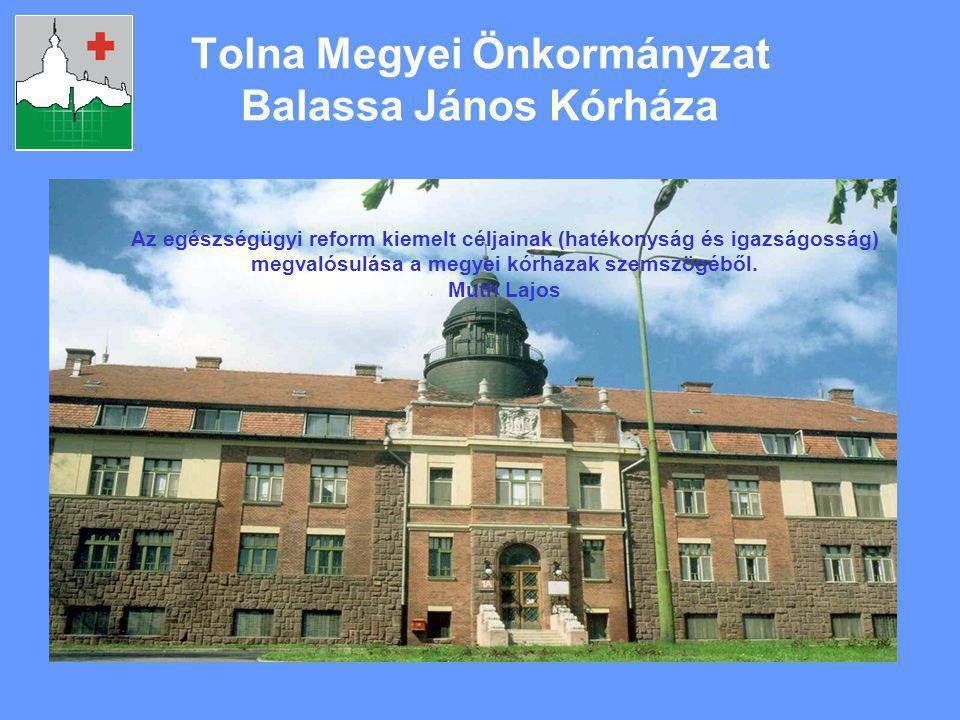 Tolna Megyei Önkormányzat Balassa János Kórháza Az egészségügyi reform kiemelt céljainak (hatékonyság és igazságosság) megvalósulása a megyei kórházak szemszögéből.