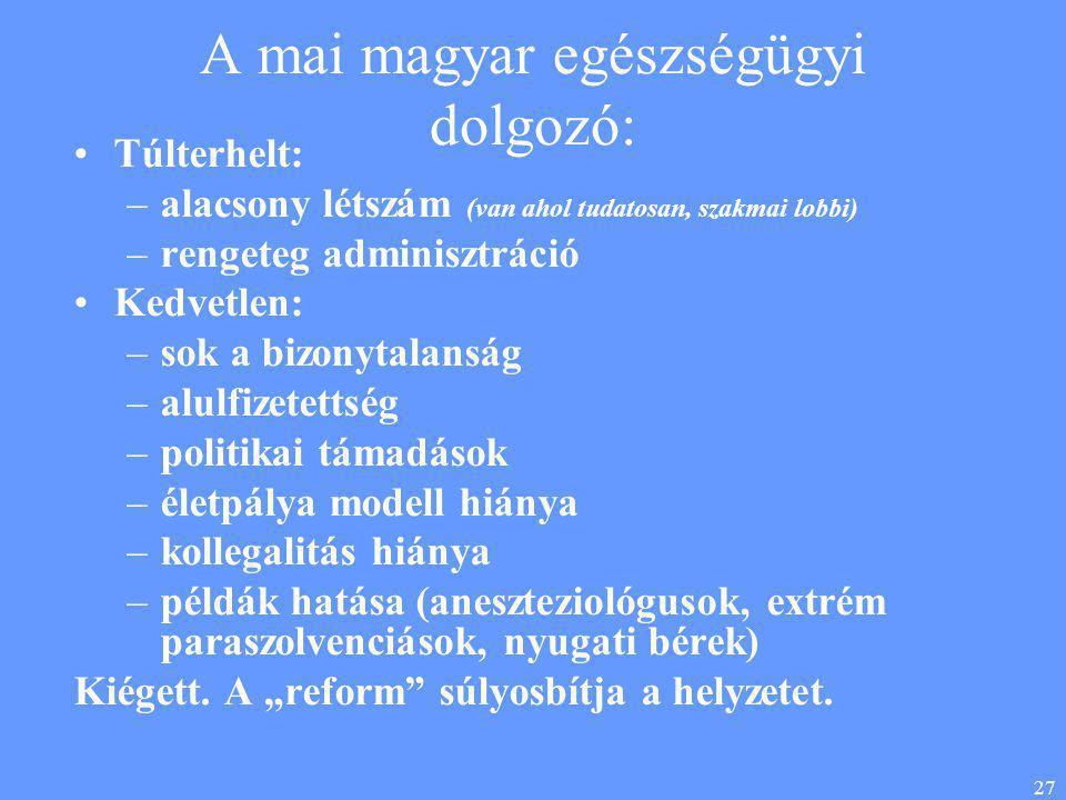 27 A mai magyar egészségügyi dolgozó: •Túlterhelt: –alacsony létszám (van ahol tudatosan, szakmai lobbi) –rengeteg adminisztráció •Kedvetlen: –sok a b