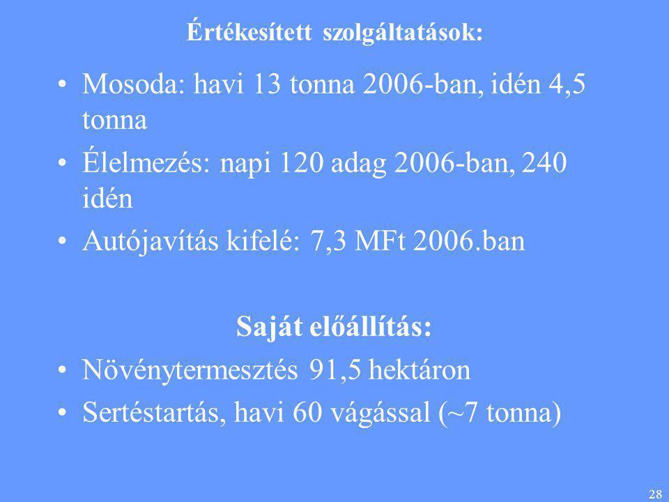 28 Értékesített szolgáltatások: •Mosoda: havi 13 tonna 2006-ban, idén 4,5 tonna •Élelmezés: napi 120 adag 2006-ban, 240 idén •Autójavítás kifelé: 7,3 MFt 2006.ban Saját előállítás: •Növénytermesztés 91,5 hektáron •Sertéstartás, havi 60 vágással (~7 tonna)