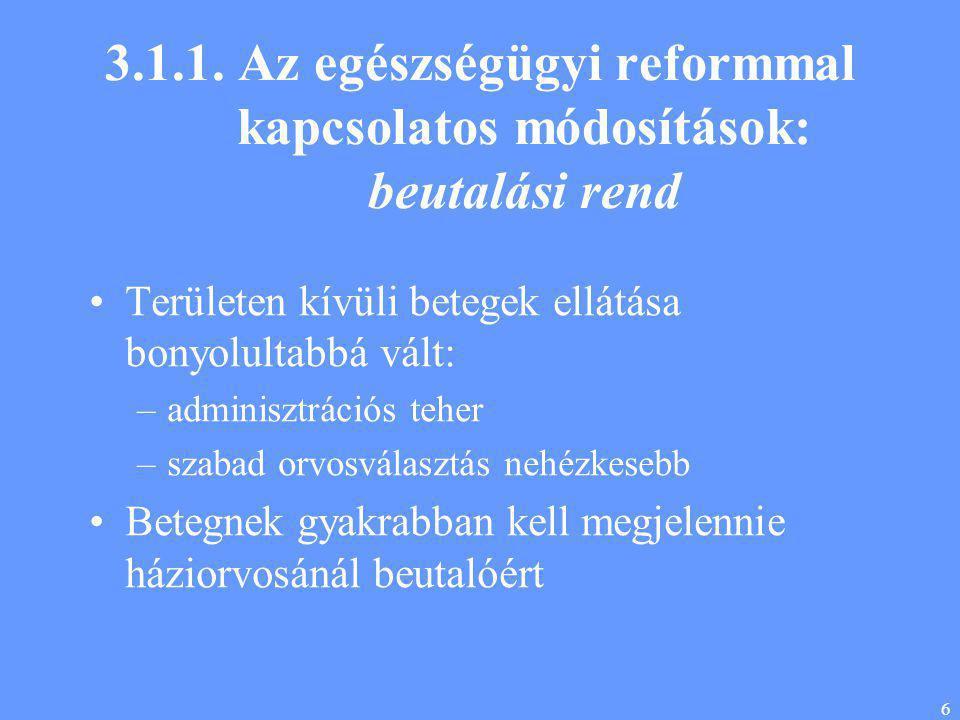6 3.1.1. Az egészségügyi reformmal kapcsolatos módosítások: beutalási rend •Területen kívüli betegek ellátása bonyolultabbá vált: –adminisztrációs teh