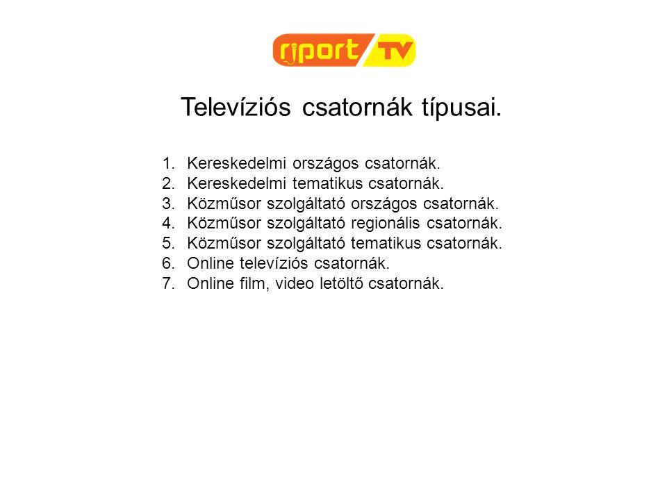 Televíziós csatornák típusai. 1.Kereskedelmi országos csatornák. 2.Kereskedelmi tematikus csatornák. 3.Közműsor szolgáltató országos csatornák. 4.Közm
