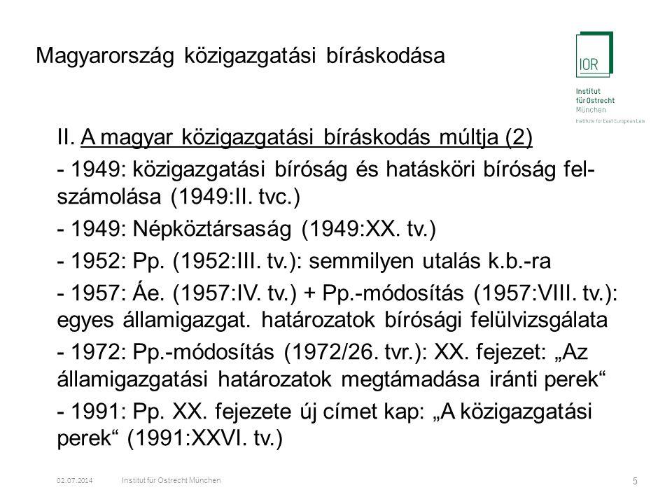 Magyarország közigazgatási bíráskodása II.