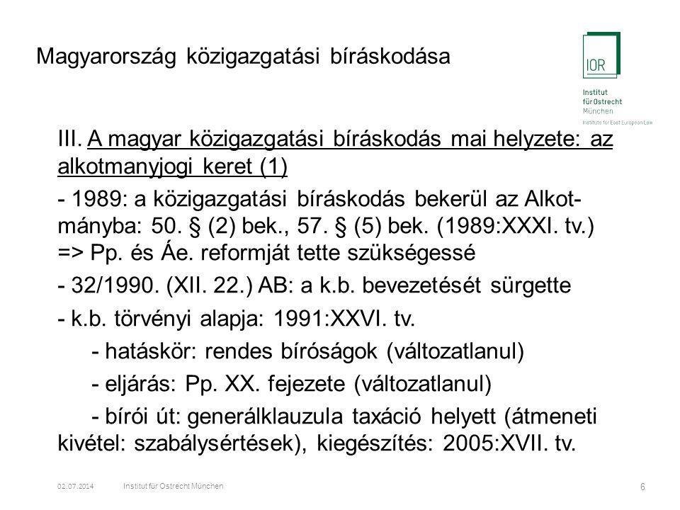 Magyarország közigazgatási bíráskodása III.