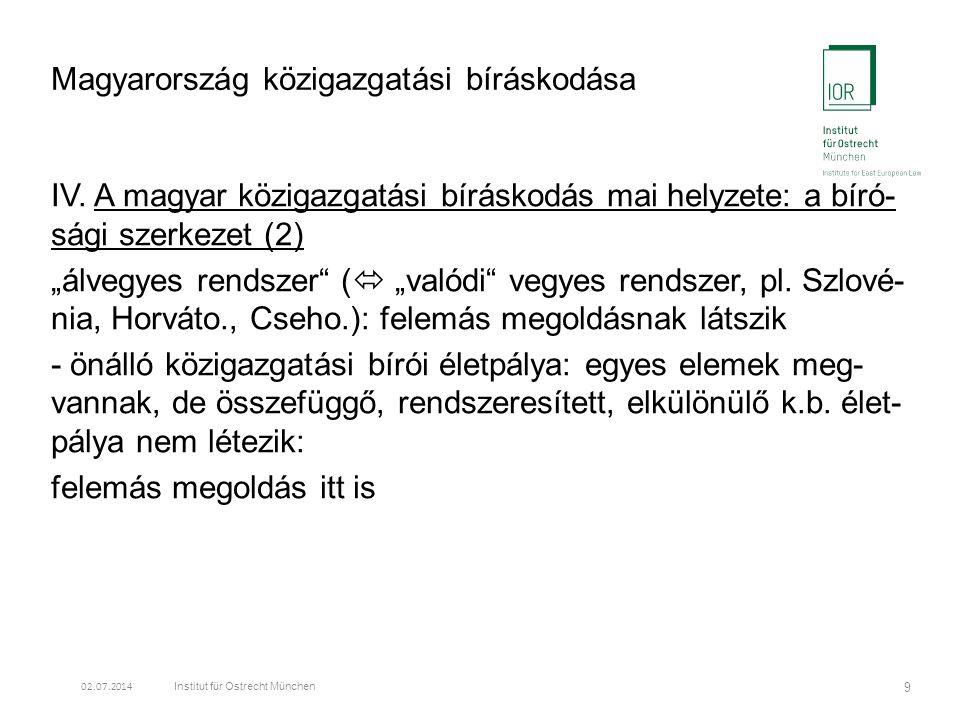 Magyarország közigazgatási bíráskodása IV.