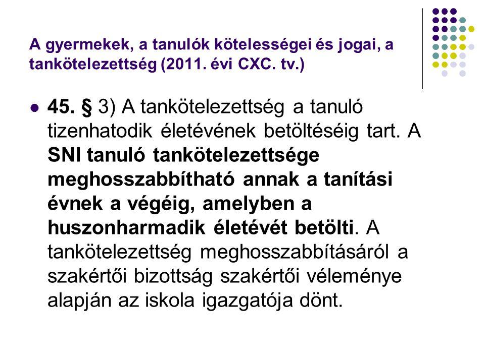A gyermekek, a tanulók kötelességei és jogai, a tankötelezettség (2011. évi CXC. tv.)  45. § 3) A tankötelezettség a tanuló tizenhatodik életévének b