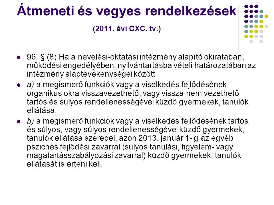 Átmeneti és vegyes rendelkezések (2011. évi CXC. tv.)  96. § (8) Ha a nevelési-oktatási intézmény alapító okiratában, működési engedélyében, nyilvánt