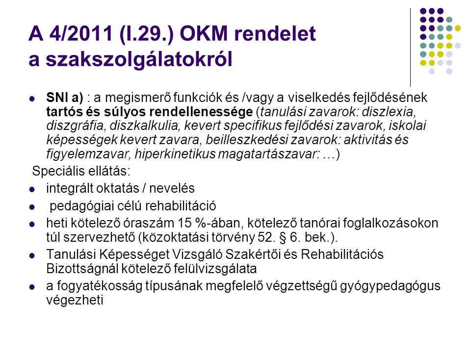 A 4/2011 (I.29.) OKM rendelet a szakszolgálatokról  SNI a) : a megismerő funkciók és /vagy a viselkedés fejlődésének tartós és súlyos rendellenessége