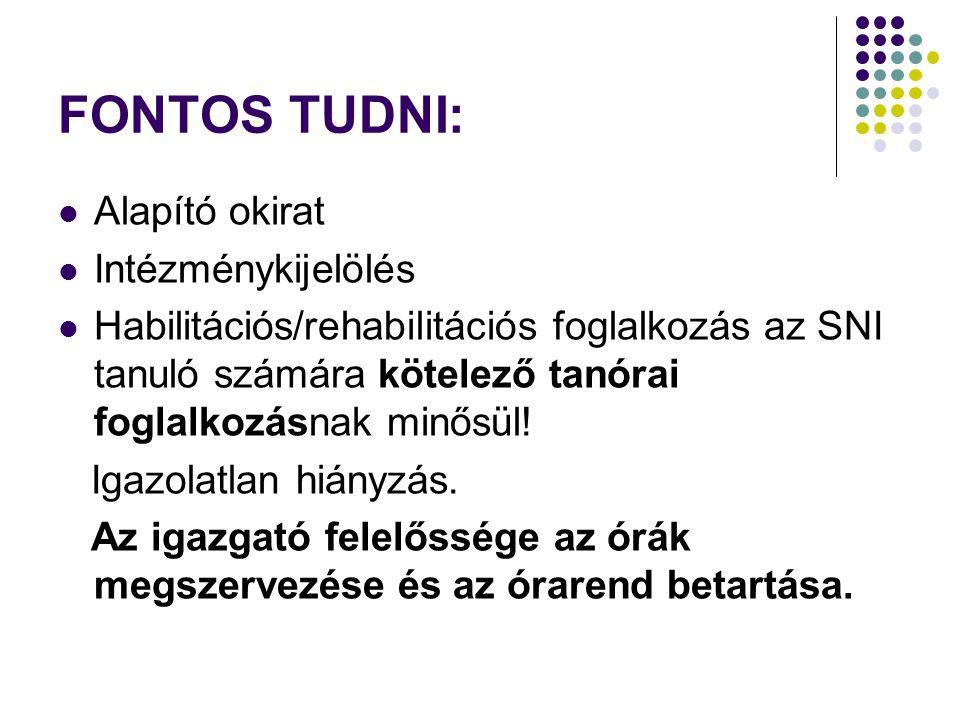 FONTOS TUDNI:  Alapító okirat  Intézménykijelölés  Habilitációs/rehabilitációs foglalkozás az SNI tanuló számára kötelező tanórai foglalkozásnak mi