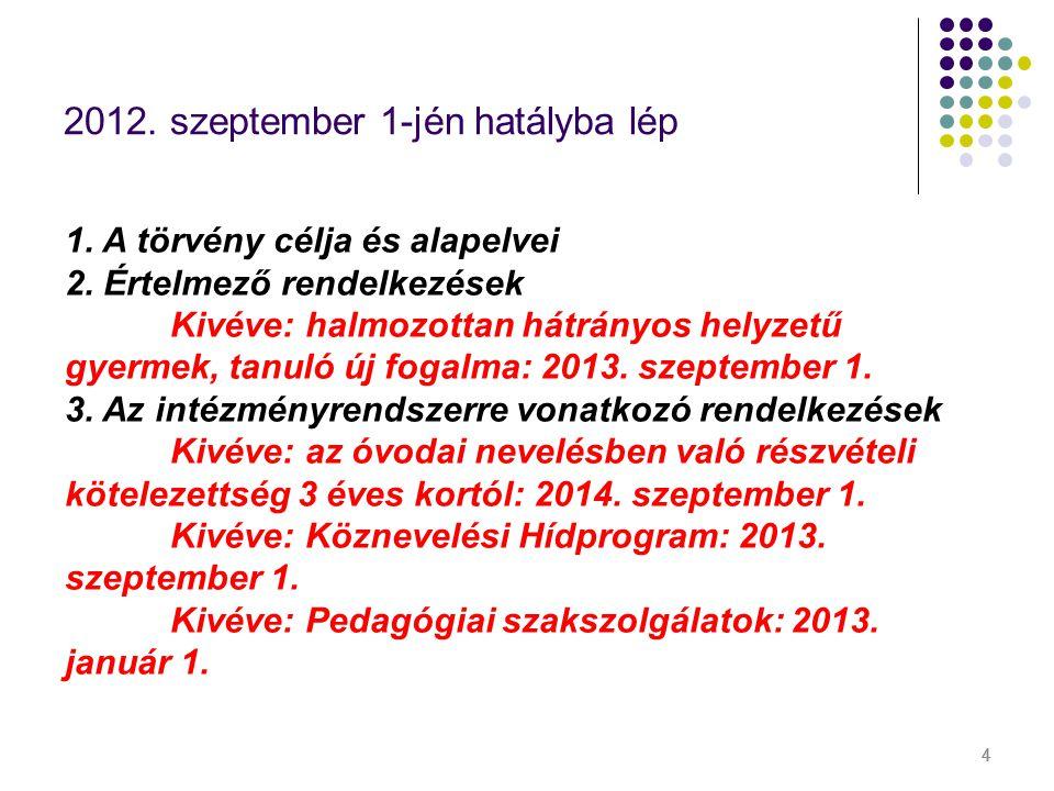444 2012. szeptember 1-jén hatályba lép 1. A törvény célja és alapelvei 2. Értelmező rendelkezések Kivéve: halmozottan hátrányos helyzetű gyermek, tan