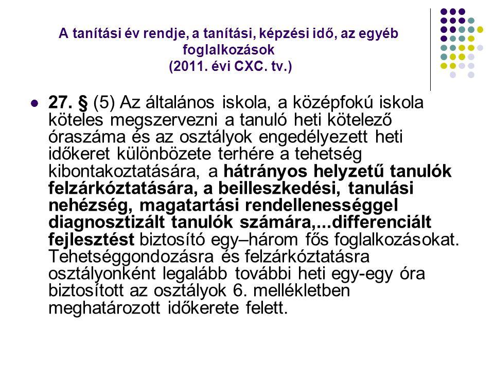 A tanítási év rendje, a tanítási, képzési idő, az egyéb foglalkozások (2011. évi CXC. tv.)  27. § (5) Az általános iskola, a középfokú iskola köteles