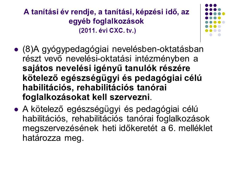 A tanítási év rendje, a tanítási, képzési idő, az egyéb foglalkozások (2011. évi CXC. tv.)  (8)A gyógypedagógiai nevelésben-oktatásban részt vevő nev