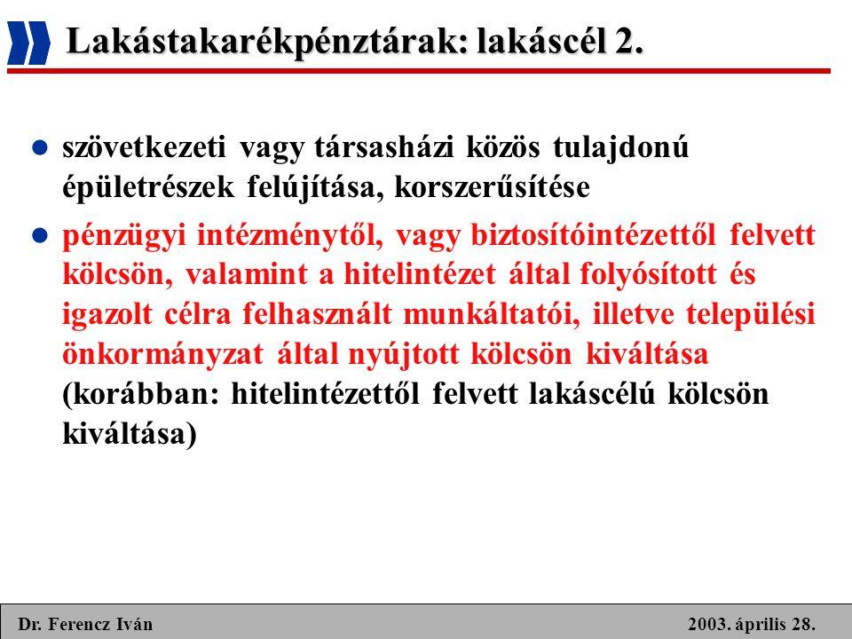 2003. április 28.Dr. Ferencz Iván Lakástakarékpénztárak: lakáscél 2.  szövetkezeti vagy társasházi közös tulajdonú épületrészek felújítása, korszerűs