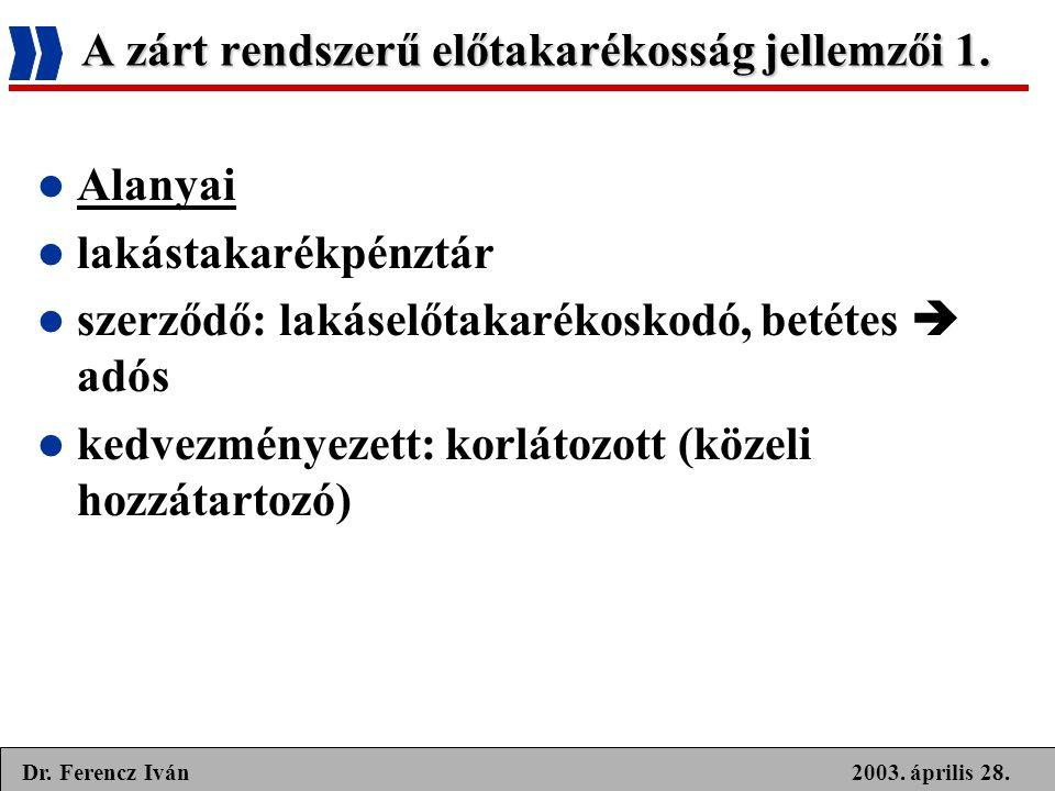 2003. április 28.Dr. Ferencz Iván A zárt rendszerű előtakarékosság jellemzői 1.  Alanyai  lakástakarékpénztár  szerződő: lakáselőtakarékoskodó, bet