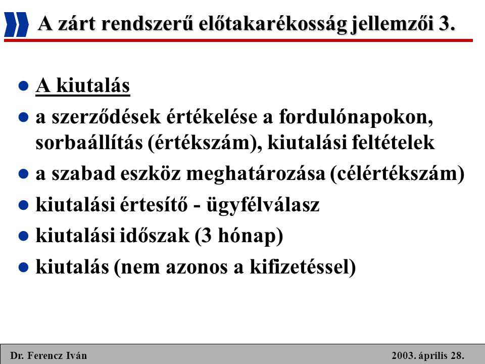 2003. április 28.Dr. Ferencz Iván A zárt rendszerű előtakarékosság jellemzői 3.  A kiutalás  a szerződések értékelése a fordulónapokon, sorbaállítás