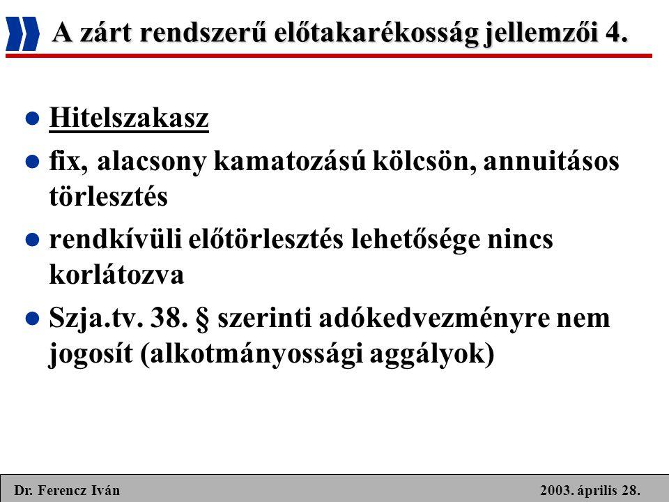 2003. április 28.Dr. Ferencz Iván A zárt rendszerű előtakarékosság jellemzői 4.  Hitelszakasz  fix, alacsony kamatozású kölcsön, annuitásos törleszt