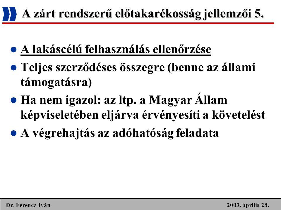 2003. április 28.Dr. Ferencz Iván A zárt rendszerű előtakarékosság jellemzői 5.  A lakáscélú felhasználás ellenőrzése  Teljes szerződéses összegre (