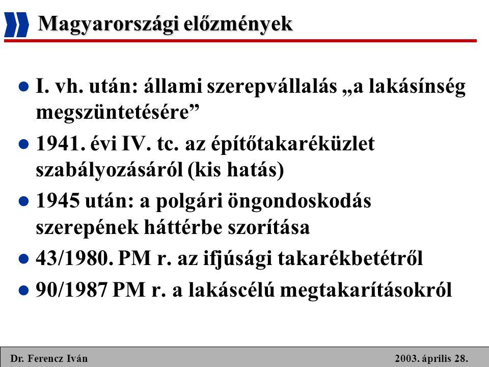 """2003. április 28.Dr. Ferencz Iván Magyarországi előzmények  I. vh. után: állami szerepvállalás """"a lakásínség megszüntetésére""""  1941. évi IV. tc. az"""