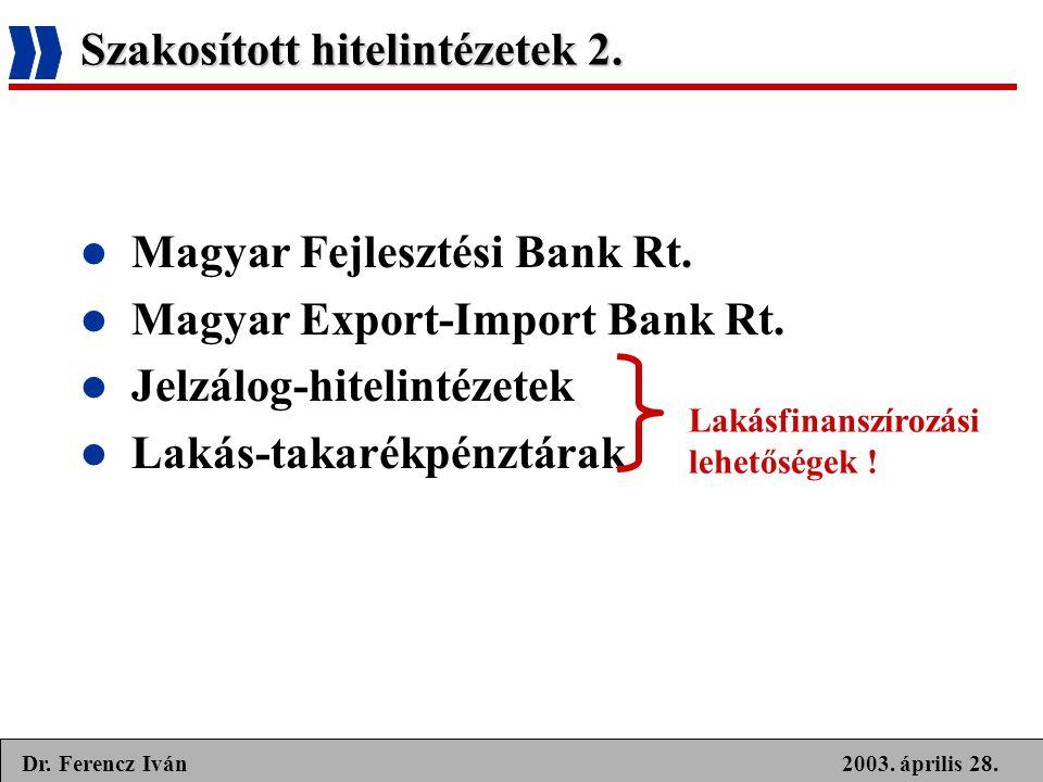 2003. április 28.Dr. Ferencz Iván Szakosított hitelintézetek 2.  Magyar Fejlesztési Bank Rt.  Magyar Export-Import Bank Rt.  Jelzálog-hitelintézete