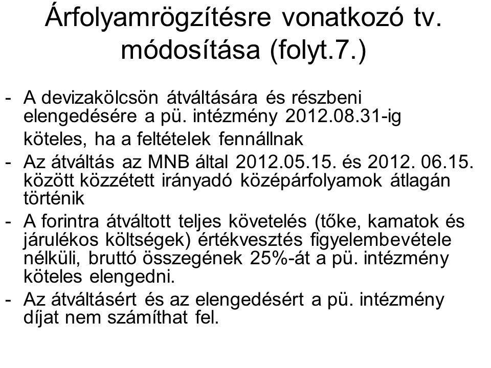 Árfolyamrögzítésre vonatkozó tv. módosítása (folyt.7.) -A devizakölcsön átváltására és részbeni elengedésére a pü. intézmény 2012.08.31-ig köteles, ha