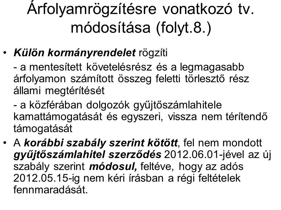 Árfolyamrögzítésre vonatkozó tv. módosítása (folyt.8.) •Külön kormányrendelet rögzíti - a mentesített követelésrész és a legmagasabb árfolyamon számít