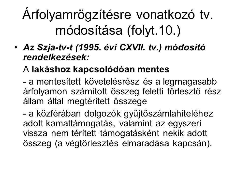 Árfolyamrögzítésre vonatkozó tv. módosítása (folyt.10.) •Az Szja-tv-t (1995. évi CXVII. tv.) módosító rendelkezések: A lakáshoz kapcsolódóan mentes -