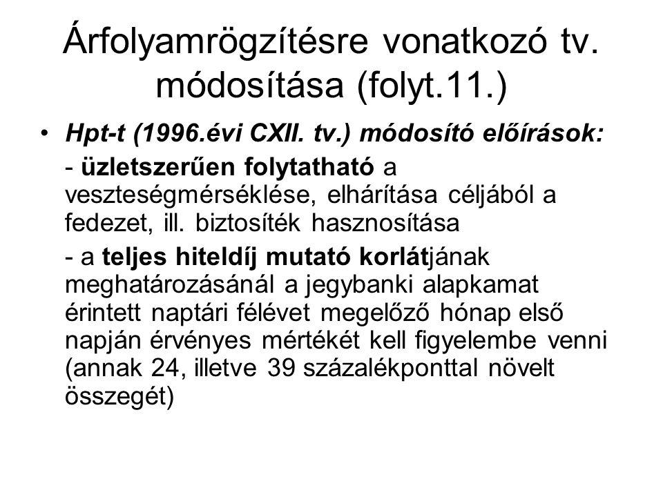 Árfolyamrögzítésre vonatkozó tv. módosítása (folyt.11.) •Hpt-t (1996.évi CXII. tv.) módosító előírások: - üzletszerűen folytatható a veszteségmérséklé
