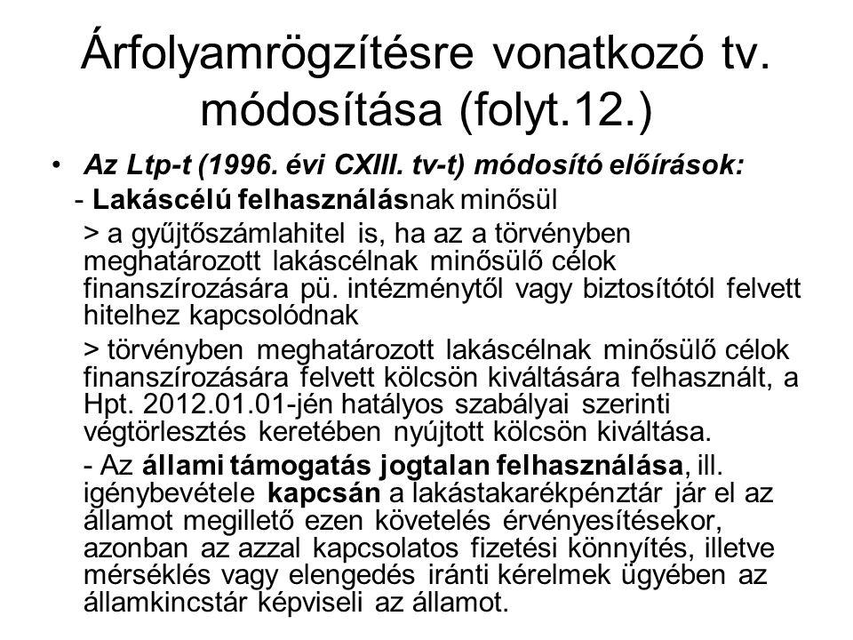 Árfolyamrögzítésre vonatkozó tv. módosítása (folyt.12.) •Az Ltp-t (1996. évi CXIII. tv-t) módosító előírások: - Lakáscélú felhasználásnak minősül > a