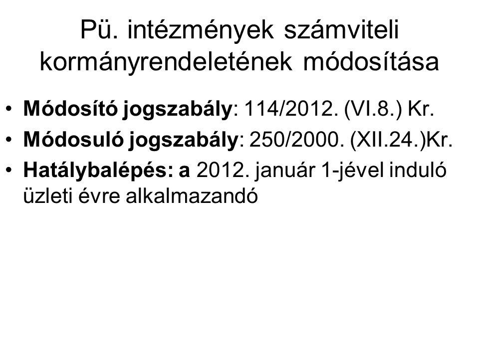 Pü. intézmények számviteli kormányrendeletének módosítása •Módosító jogszabály: 114/2012. (VI.8.) Kr. •Módosuló jogszabály: 250/2000. (XII.24.)Kr. •Ha
